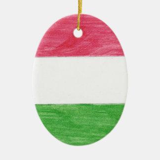 Hungarian Flag Ceramic Oval Ornament