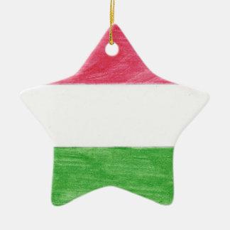 Hungarian Flag Ceramic Star Ornament