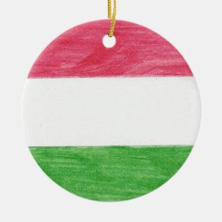 Hungarian Flag Round Ceramic Ornament