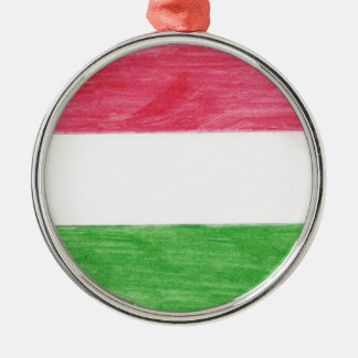 Hungarian Flag Silver-Colored Round Ornament