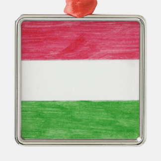 Hungarian Flag Silver-Colored Square Ornament