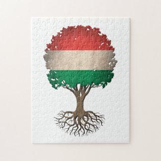 Hungarian Flag Tree of Life Customizable Jigsaw Puzzle