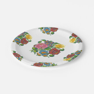Hungarian Floral - kalocsai motifs Paper Plate