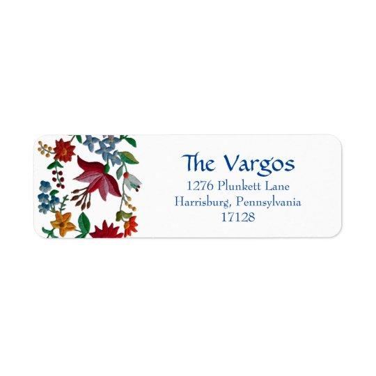 Hungarian Flower Embroidery Design Return Address Label
