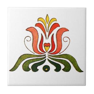 Hungarian Folk Flower Tile