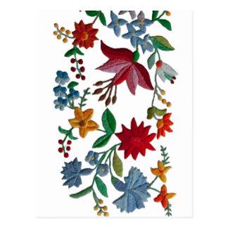 Hungarian Folkart Embroidery Postcard