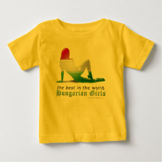 Hungarian Girl Silhouette Flag Baby T-Shirt