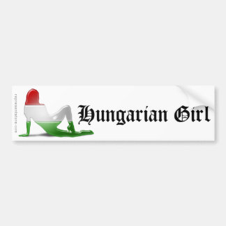 Hungarian Girl Silhouette Flag Bumper Sticker