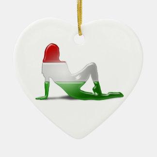 Hungarian Girl Silhouette Flag Ceramic Heart Ornament
