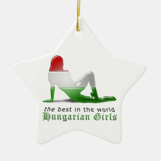 Hungarian Girl Silhouette Flag Ceramic Star Ornament