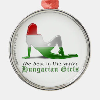 Hungarian Girl Silhouette Flag Silver-Colored Round Ornament