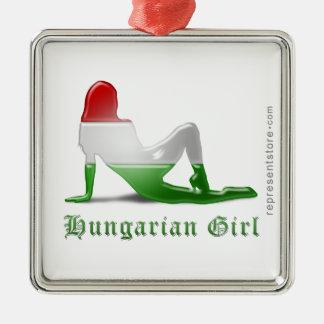 Hungarian Girl Silhouette Flag Silver-Colored Square Ornament
