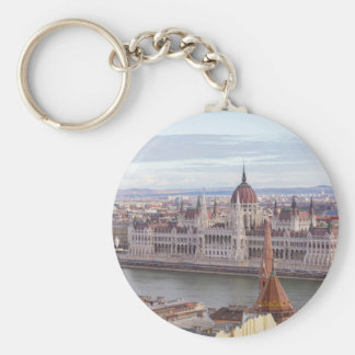 Hungarian Parliament Budapest by day Basic Round Button Keychain