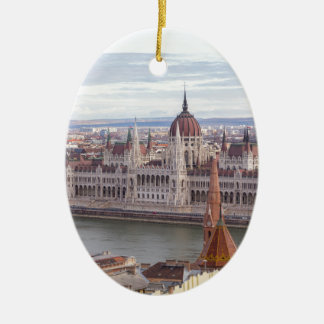 Hungarian Parliament Budapest by day Ceramic Ornament