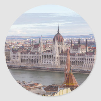 Hungarian Parliament Budapest by day Classic Round Sticker