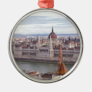 Hungarian Parliament Budapest by day Metal Ornament