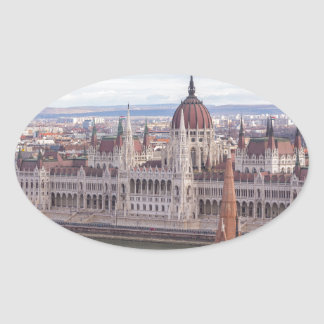 Hungarian Parliament Budapest by day Oval Sticker