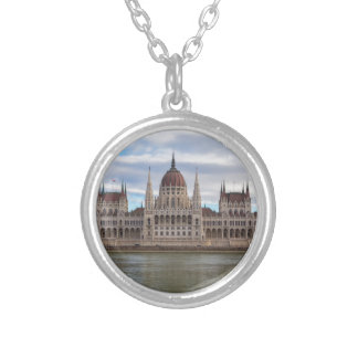 Hungarian Parliament Budapest by day Silver Plated Necklace