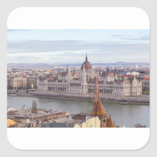 Hungarian Parliament Budapest by day Square Sticker