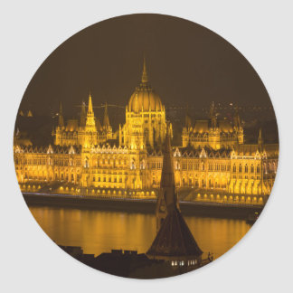 Hungarian Parliament Budapest by night Classic Round Sticker