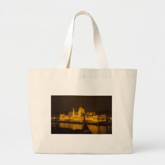 Hungarian Parliament Budapest by night Large Tote Bag