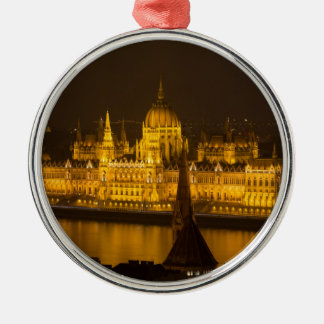 Hungarian Parliament Budapest by night Metal Ornament