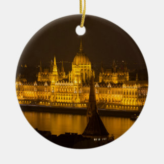 Hungarian Parliament Budapest by night Round Ceramic Ornament