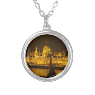 Hungarian Parliament Budapest by night Silver Plated Necklace