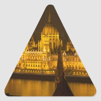 Hungarian Parliament Budapest by night Triangle Sticker