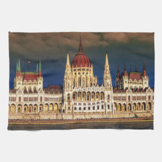 Hungarian Parliament Building in Budapest, Hungary Kitchen Towel
