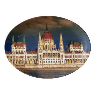 Hungarian Parliament Building in Budapest, Hungary Porcelain Serving Platter