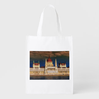 Hungarian Parliament Building in Budapest, Hungary Reusable Grocery Bag