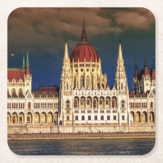 Hungarian Parliament Building in Budapest, Hungary Square Paper Coaster