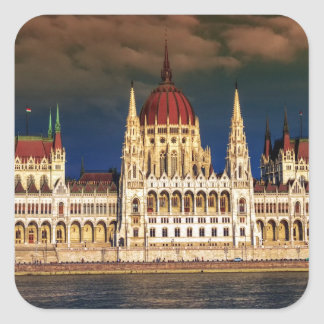 Hungarian Parliament Building in Budapest, Hungary Square Sticker
