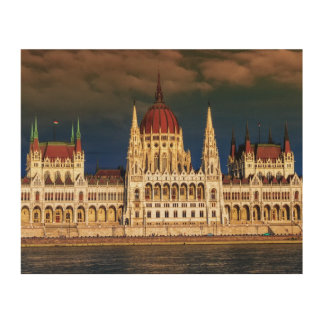 Hungarian Parliament Building in Budapest, Hungary Wood Canvases