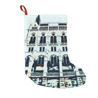 Hungarian Parliament painting Small Christmas Stocking