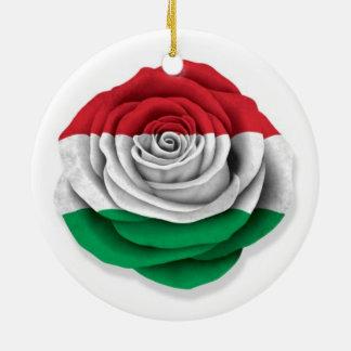 Hungarian Rose Flag on White Ceramic Ornament