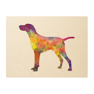 Hungarian Shorthaired Pointer in watercolor Wood Print