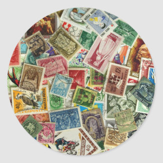 Hungarian Stamp Mixture Classic Round Sticker