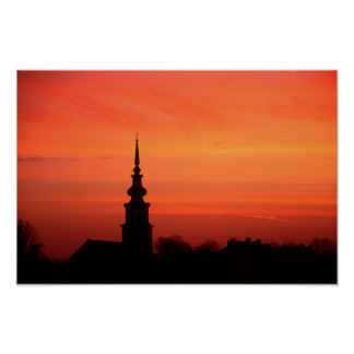 Hungarian sunset with church poster