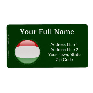 Hungary Bubble Flag Shipping Label