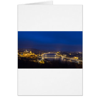 Hungary Budapest at night panorama Card