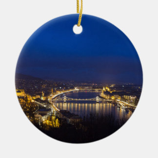 Hungary Budapest at night panorama Ceramic Ornament