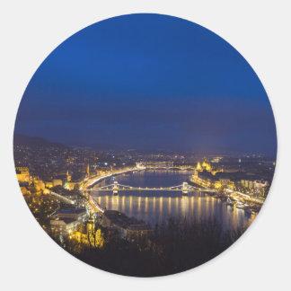 Hungary Budapest at night panorama Classic Round Sticker