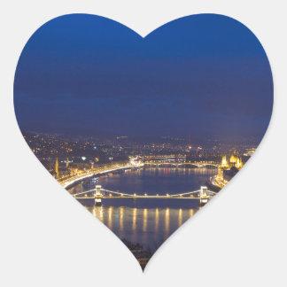 Hungary Budapest at night panorama Heart Sticker