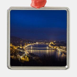 Hungary Budapest at night panorama Metal Ornament