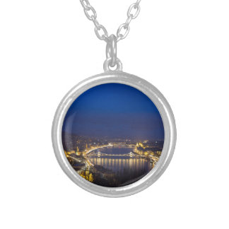 Hungary Budapest at night panorama Silver Plated Necklace