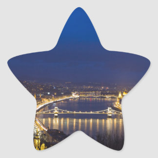 Hungary Budapest at night panorama Star Sticker