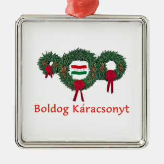 Hungary Christmas 2 Silver-Colored Square Ornament