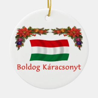 Hungary Christmas Round Ceramic Ornament